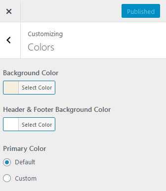 The colors tab in the WordPress customizer for Twenty Twenty theme.