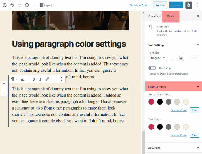 Color settings for the paragraph block in Twenty Twenty theme.